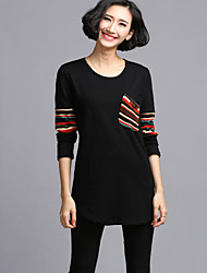 Women's Casual/Daily Plus Size Plus Size Dress,Patchwork Round Neck Above Knee Long Sleeve Black Spandex Fall