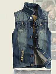 Men's Pure Sleeveless Jacket , Cotton/Denim Casual