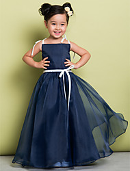 Lanting Bride® A-line Floor-length Flower Girl Dress - Organza Sleeveless Spaghetti Straps with Bow(s)