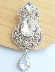 3.94 Inch Silver-tone Clear Rhinestone Crystal Drop Flower Brooch Wedding Decorations