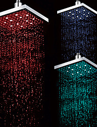 8 INCH Chrome Finish Rectangular Temperature-Controlled 3 Colors LED Shower Rainfall Shower