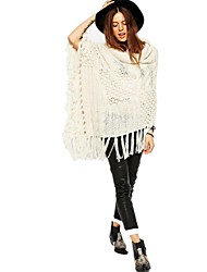 Women's Heaps Collar Hollow Out Tassel Knitted Poncho Loose Pullover Sweater