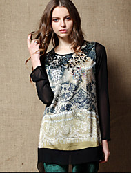 New arrival!Autumn Clothing  Leisure wild Loose Printed Dress  Beads Decorative  Dress