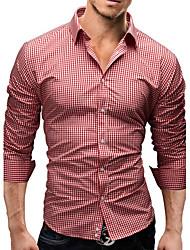 Men's Long Sleeve Shirt , Cotton Blend Casual/Work/Formal/Plus Sizes Print/Striped/Plaids & Checks