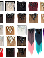 24 polegadas 7pcs/set Long sintético Clipe Hetero em extensões do cabelo com 16 Clipes - 16 cores disponíveis