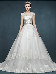 Ball Gown Wedding Dress Lacy Look Court Train V-neck Tulle with Appliques Beading Sash / Ribbon