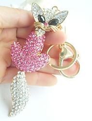 bolsa chaveiro raposa encantadora, com clara&cristais de strass rosa