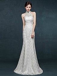 Trumpet / Mermaid Wedding Dress Sweep / Brush Train High Neck Lace with