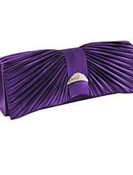 Pleated Satin Clutch Purse Crystal Baguette Women Clutch Evening Handbag