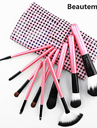 10pcs Pony/Goat hair Makeup Brushes set Professional Pink Blush/Foundation Brush Shadow/Eyelash/Brow/Lip Brush with Pink Plaid Case Cute Color