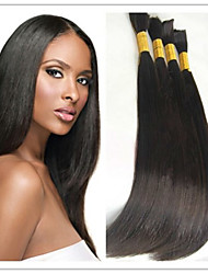 "3Pcs/Lot INDIAN VIRGIN Human Hair Bulk 14-32"" Straight Braiding Hair Bulk Hair Extensions 100G/Pc #1B"