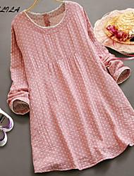 Women's Round Neck Long Sleeve Dot Pregnant Dress