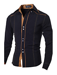 Brand Fashion Men's casual long-sleeved shirt Slim collar shirt Cotton / Polyester Casual / Work / Sport Pure