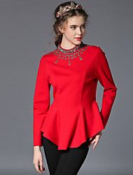 Women's Crew Neck Beaded/Ruffle Blouse , Cotton Long Sleeve , Sexy Waist Coat T-shirt ,Work OL Style Ladies Clothes
