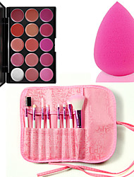 Pro 8pcs Makeup Brushes Set Foundation Eyeshadow Lip +15 Color Lipstick cosmetic palette Lip Gloss +Sponge Blender Puff