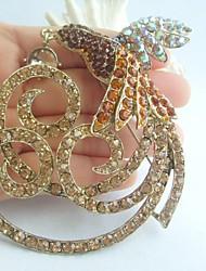 Gorgeous 3.94 Inch Gold-tone Topaz Rhinestone Crystal Phoenix Brooch Pendant Art Deco
