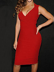 Dominic Women's Solid Color Red / Black Dresses , Casual / Work V-Neck Sleeveless