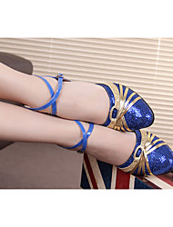 Women's Dance Shoes Latin Shoes Modern Shoes Ladies With Adultsof Bottom Ballroom Dancing Shoes And Sandals 5.5cm Heel Heighted / Silver / Blue