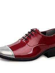 Oxfords ( Cuero Patentado , Negro/Dorado/Rojo Zapatos de hombre
