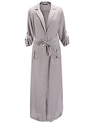 Women's Sexy Vintage Deep V Neck Long Sleeve Maxi Dress