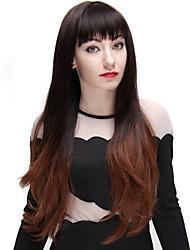 Ombre perruques brun ondes longues de la mode 28 pouces perruque synthétique noir et de la lumière avec une frange entière