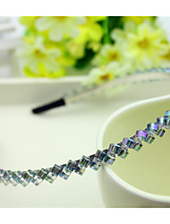 South Korea Imported Hairpin Rhinestone Beaded Head Hoop Decorations Double Row Crystal Hair Band Purple