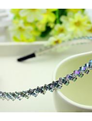 South Korea Imported Hairpin Rhinestone Beaded Head Hoop Decorations Double Row Crystal Hair Band Purple