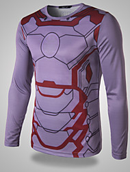Men's Iron Man   Printing Long  Sleeved T-shirt