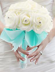 Top Quality Cream And Blue Elegant Hand Made Decorative Artificial Crystal Beaded Flower Bride Vestidos Wedding Bouquets