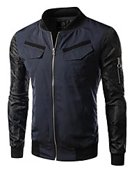 Men's Slim Fit Stand Collar Double Pockets Jacket