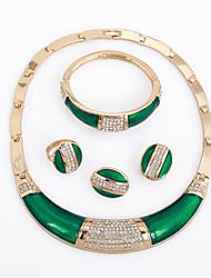 WesternRain Emerald green 18K Gold Filled Austrian Crystal Culture Necklace Bracelet Earrings Ring Jewelry Set for women
