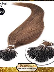 """18 """"светло-коричневый (# 6) 100s придерживаться наконечник расширения человеческих волос"""