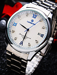 Men's Round Diamond Dial Mineral Glass Mirror Stainless Steel Band Fashion Calendar Life Waterproof  Mechanical Watch