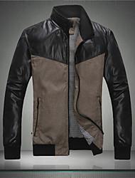 Men's Casual/Work/Formal Pure Long Sleeve Regular Jacket (PU)