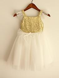 Princess Gold Knee-length Flower Girl Dress - Sequined Short Sleeve