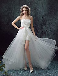 Sheath / Column Wedding Dress Two-In-One Wedding Dresses Asymmetrical Sweetheart Lace with