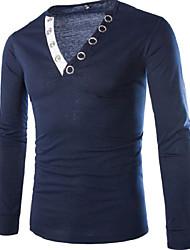 Taylor Men's V-Neck T-Shirts , Cotton Blend Long Sleeve Casual