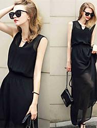 Women's V-Neck Layered Dresses , Chiffon Sexy/Casual Sleeveless YaYiGe