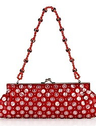 Women 's Polyester Fold over Clutch Evening Bag - Blue/Red