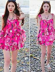 Women's Straps/V-Neck Ruffle Dresses , Chiffon Sexy/Beach Sleeveless YaYiGe