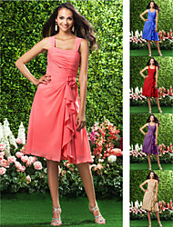 Knee-length Chiffon Bridesmaid Dress - Ruby / Grape / Royal Blue / Champagne / Watermelon Plus Sizes / Petite A-line Straps