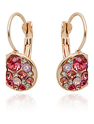 Hoop Earrings Rose Gold Alloy Cubic Zirconia Simulated Diamond Screen Color Jewelry 2pcs