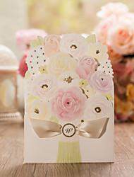Personalisiert Doppelfensterfalz Hochzeits-Einladungen Einladungskarten-50 Stück / Set Schmetterling Stil / Geblühmter Style Kunstpapier