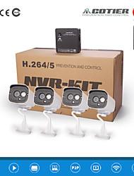 cotier®4ch kits de NVR 720p / 960p / 1080p / H.264 / prise et la caméra de lecture / ip n4b7-mini
