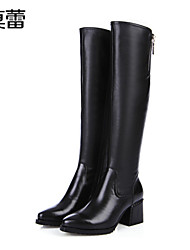 Women's Shoes Leather/Faux Leather Chunky Heel Fashion Boots Boots Office & Career/Party & Evening/Casual Black