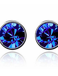 Haofeng Women's Korean-style High Quality Simple Cute Mosaic Zircon Silver-plated Earrings