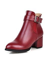 Calçados Femininos Courino Salto Grosso Bico Fino/Botas da Moda Botas Escritório & Trabalho/Social Preto/Amarelo/Vermelho