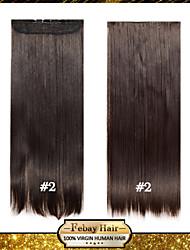 resistencia a altas temperaturas recta larga peluca de extensión 5 clip de 24 pulgadas