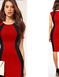 Women's Patchwork Red / Green / Purple Dresses , Bodycon Round Sleeveless