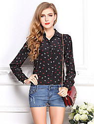 Women's Shirt Collar Casual Shirts , Polyester Sexy/Casual Long Sleeve YaYiGe